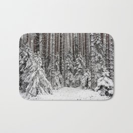 After the snowfall in taiga forest Bath Mat