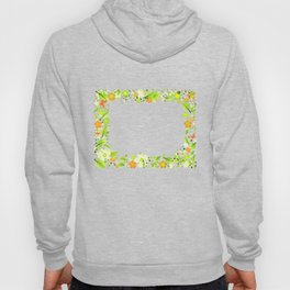 Frame from abstract leaves, flowers and butterflies Hoody
