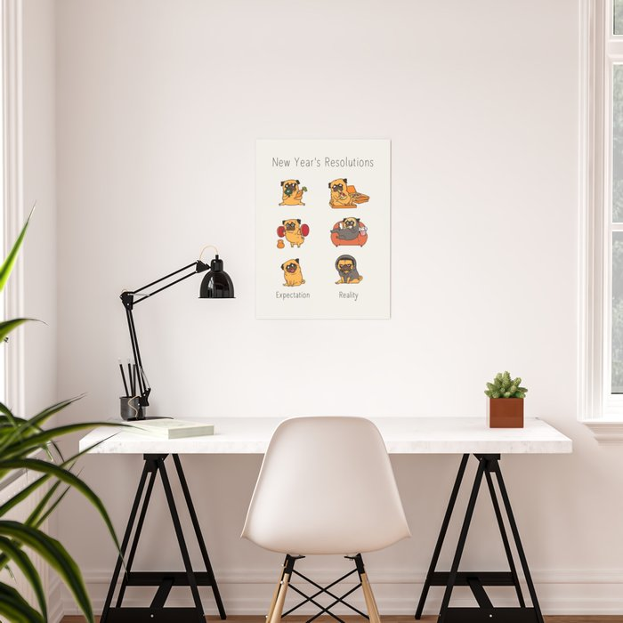 New Years Resolutions with The Pug Poster
