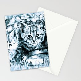 Blue Baby Cats Stationery Cards