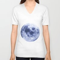 luna V-neck T-shirts featuring Luna by Tobias Bowman