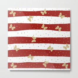Butterfly Christmas seamless pattern and Gold Confetti on White and Red Stripes Background Metal Print