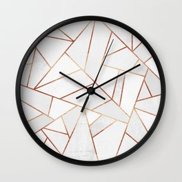 White Stone & Copper Lines Wall Clock