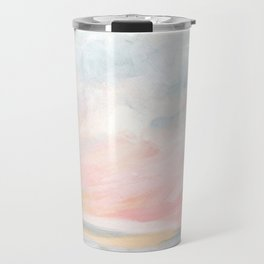 Overwhelm - Pink and Gray Pastel Seascape Travel Mug