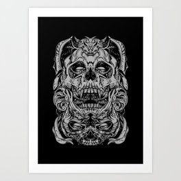 2 FACES SKULL Art Print