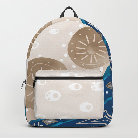 Abstract pattern brown blue . Backpack