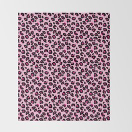 Cotton Candy Pink and Black Leopard Spots Animal Print Pattern Throw Blanket