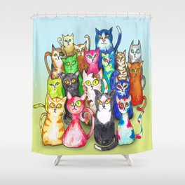 Gang of colorful cats Shower Curtain