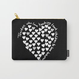 Hearts Heart Teacher White on Black Carry-All Pouch