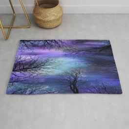 Black Trees Purple Blue Abstract Sky Rug
