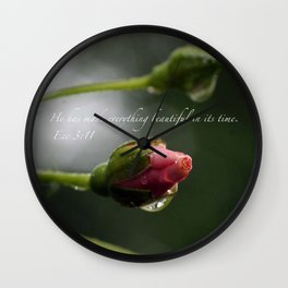 Pink Rosebud with scripture. Wall Clock