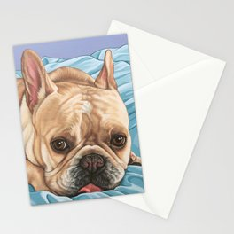 Sweet and Funny French Bulldog Painting, Frenchie Dog Portrait, Fawn French Bulldog Art Stationery Cards