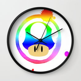 Rainbow Mushroom Wall Clock