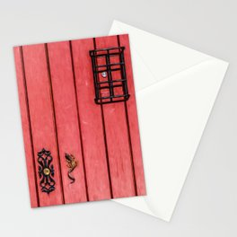 Faded Weathered Red Painted Speakeasy Door of Old World Europe Stationery Cards