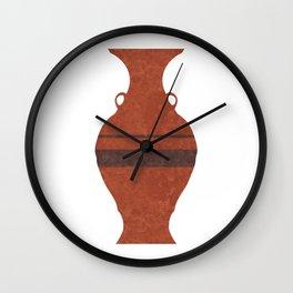 Minimal Abstract Greek Vase 11 - Hydria - Terracotta Series - Modern, Contemporary Print - Brown Wall Clock