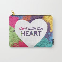 Start With The Heart Quote Print Carry-All Pouch