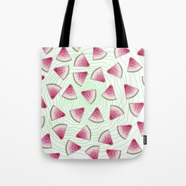 Summery Cute Watercolor Watermelons on Green Swirl Tote Bag