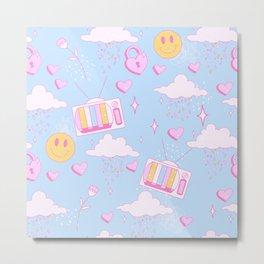 Raining Sprinkles and Hearts Blue Sky Metal Print