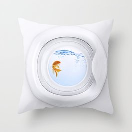 (Very) Clean Goldfish Throw Pillow