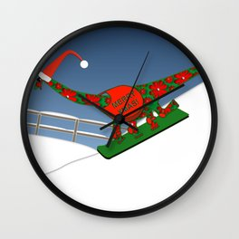 Christmas Dinosaur Snowboarding in a Santa Hat Wall Clock
