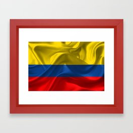 Waving fabric national flag of Colombia Framed Art Print