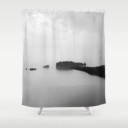 Foggy Harbor North Shore BW Shower Curtain