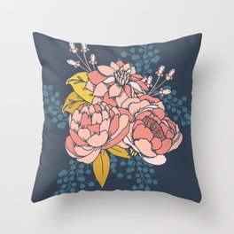 Moody Florals - Blue + Pink Throw Pillow