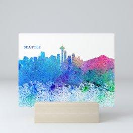 Seattle Skyline Silhouette Impressionistic Splash Mini Art Print