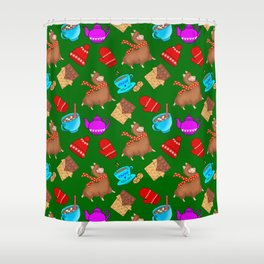 Cute winter pattern. Happy llamas, sweet chocolate bars, red woolen mittens, hot cocoa, marshmallows Shower Curtain