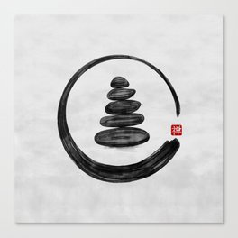Zen Enso Circle and Zen stones - Watercolor Canvas Print