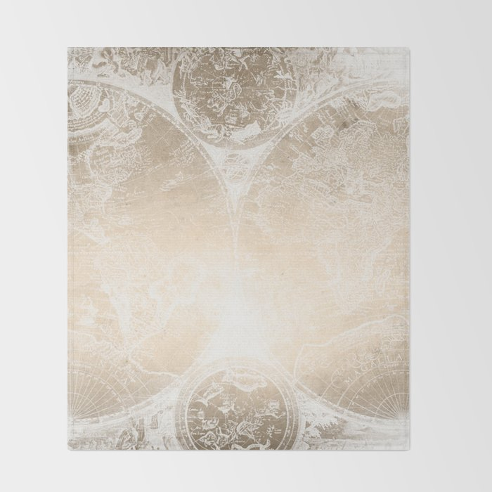 Antique world map white gold throw blanket by naturemagick society6 antique world map white gold throw blanket gumiabroncs