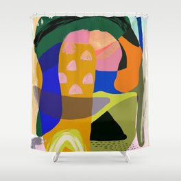Shapes and Layers no.20 - Abstract painting olive green blue orange black Shower Curtain