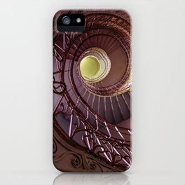 Spiral staircase in red and golden tones iPhone Case