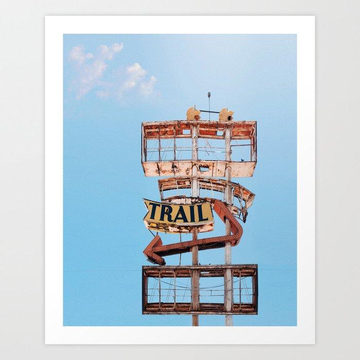 The Spanish Trail Vintage Neon Sign Art Print