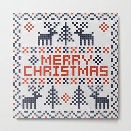 Pixel Merry Christmas - Deers and Trees - Red and Dark Blue Metal Print