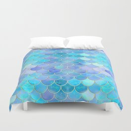 Aqua Pearlescent & Gold Mermaid Scale Pattern Duvet Cover