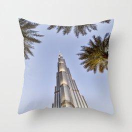 Burj Khalifa Palm Trees Throw Pillow