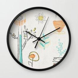 Decorative plants doodle design Wall Clock