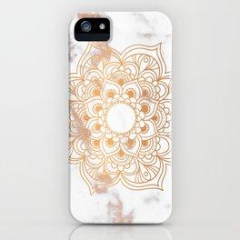 Copper flower mandala - marble iPhone Case