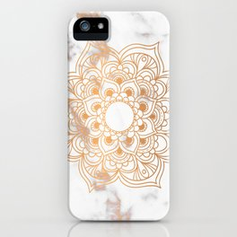 Copper flower mandala - marble iPhone Case