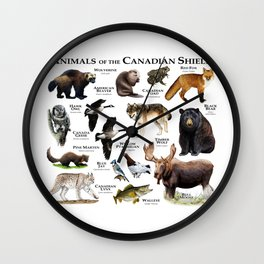 Animals of the Canadian Shield Wall Clock