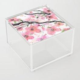 Watercolored Cherry Blossoms Acrylic Box