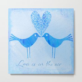 cute watercolor birds with heart and Love is in the air Metal Print
