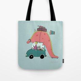 Dino on the move Tote Bag
