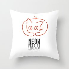 meow, then go away Throw Pillow
