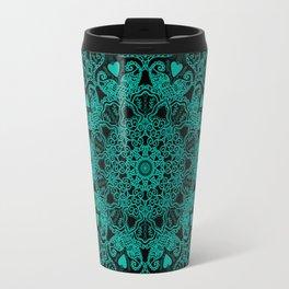 Mandala Project 231 | Teal Green Bohemian Mandaa with Hearts Travel Mug