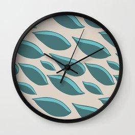 Flowing Leaves - Teal Wall Clock