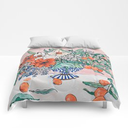 California Summer Bouquet - Oranges and Lily Blossoms in Blue and White Urn Comforters