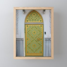 Bright Islamic Temple Door - Ornate Gold Lime Green White Arch - Unique Eclectic Architecture - Travel Photography Framed Mini Art Print