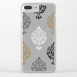 Orna Damask Ptn BW Grays Gold Clear iPhone Case